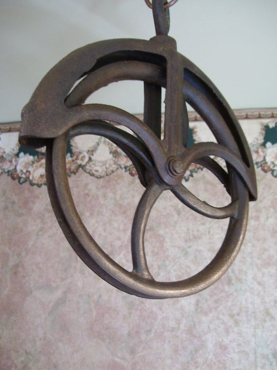 Cast Iron Pulleys For Sale : Antique cast iron primitive water well pulley farm tool