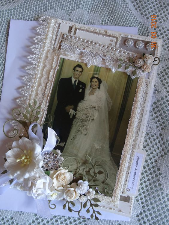 Wedding Anniversary Card...one tag inserted into top, and photo tag inserted into pocket under main photo.