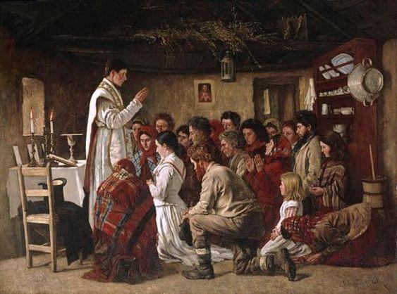 "Irish Catholics attending a ""house Mass"" despite the English persecution and law"