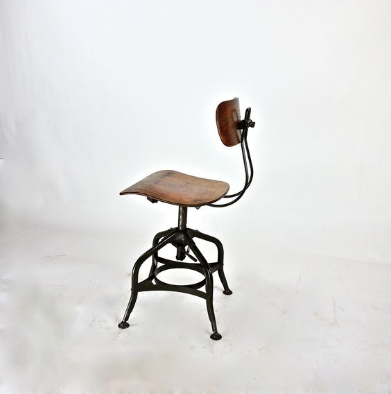 Lovely 1930s Machine Age Uhl Toledo Steel Furniture Company Stool With Original  Paper Label. Beautiful Patina