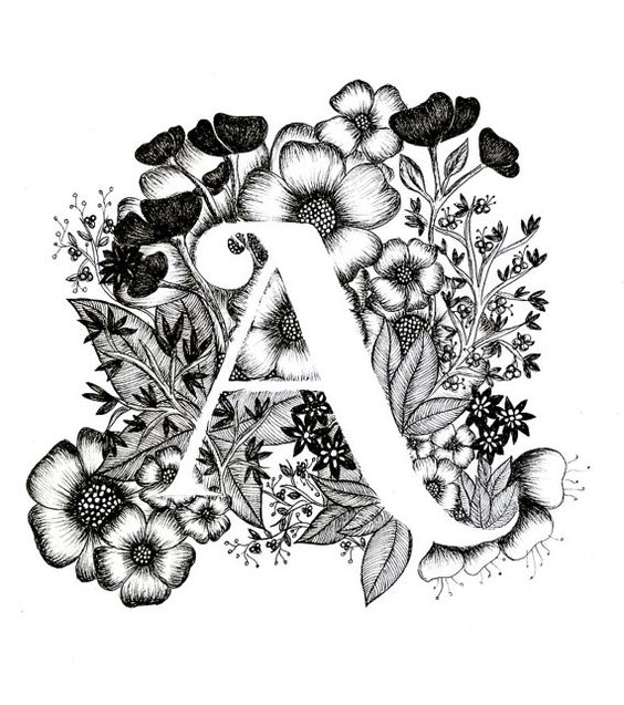 Letter A Print Alphabet Calligraphy Typography