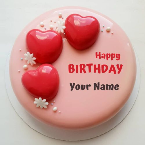Write Name On Romantic Birthday Cake With Red Hearts Make Love