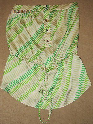 Collective Concepts Green Lime White Strapless Drawstring Silky Top Gorgeous S