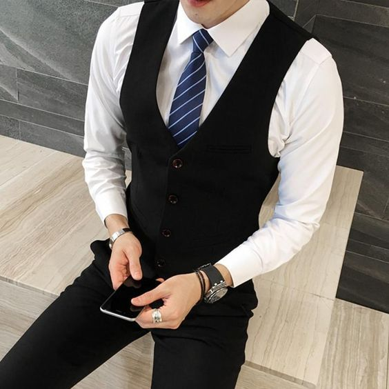 3-Piece Men's Suit Top Quality Plus Size Slim Fit Business Suit One Button Vest Blazer Pants Item Type: Suits Material: Linen, Microfiber, Polyester Front Style: Flat Fit Type: Skinny Pant Closure Type: Zipper Fly Closure Type: Single Breasted Clothing Length: Regular