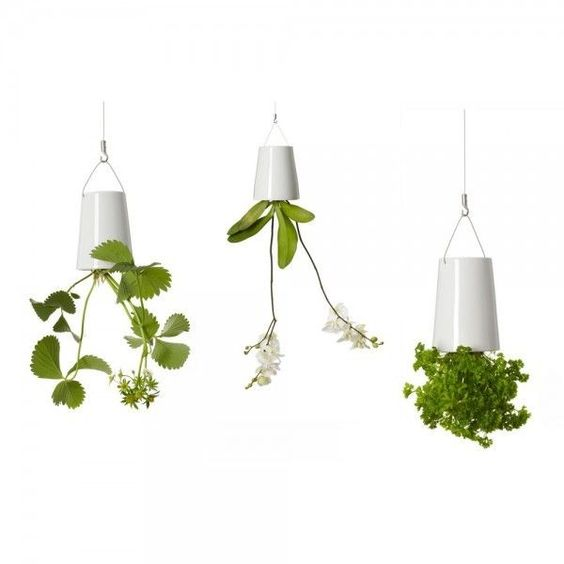Sky Planter Keramik - über Kopf hängender Blumentopf - Mini Weiß - Blumenkübel