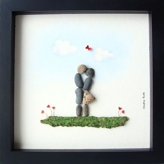 Unique engagement gifts pebble art and engagement gifts for Pebble art ideas