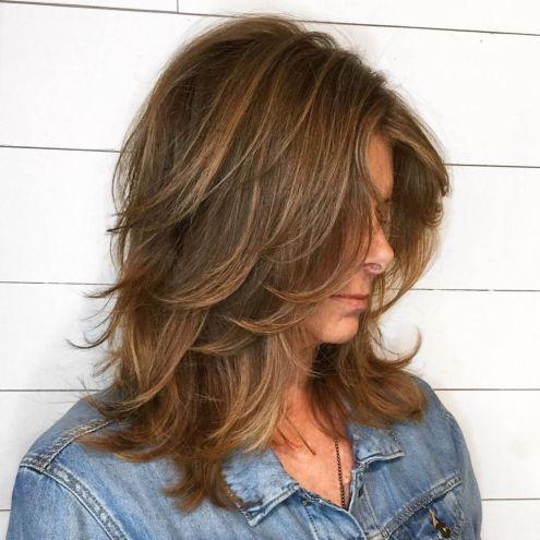 Medium Shag With Peek A Boo Bangs In 2020 Modern Shag Haircut Medium Shag Haircuts Medium Hair Styles