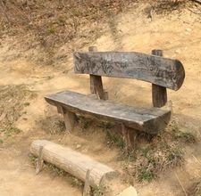 bonfire log bench with back