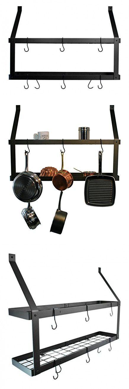 Rogar Double Bookshelf Pot Rack - Oiled Bronze and Black