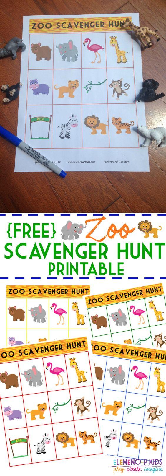 FREE Zoo Scavenger Hunt Printable!