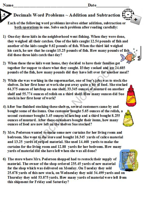 Decimals Word Problems Addition and Subtraction from DayWorks on – Decimal Word Problems Worksheet