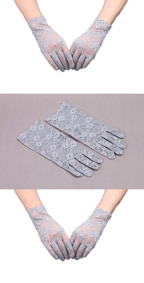 VIVIANSBRIDAL Women's 2016 Short Elegant Lace Wedding Gloves, Grey