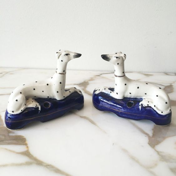 Pair of English Staffordshire Dalmation/Dogs by LikeandKind