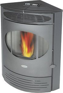 Corner pellet stove to replace the old clunky one in the middle of the basement...  Perfect!