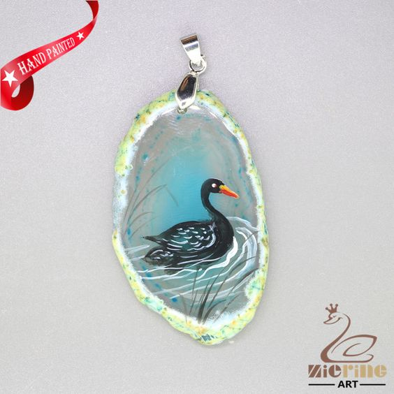 HAND PAINTED SWAN PENDANT FOR NECKLACE GEMSTONE WITH SILVER BAIL ZL807800 #ZL #Pendant