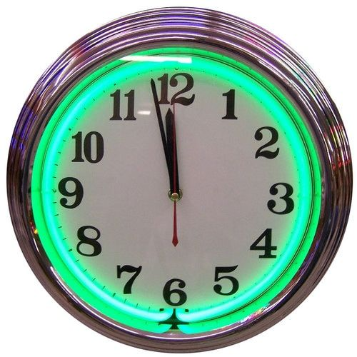 Retro Chrome Green Standard Neon Clock 15 X 15 Inches In 2020 Neon Clock Chrome Wall Clock Custom Neon Lights