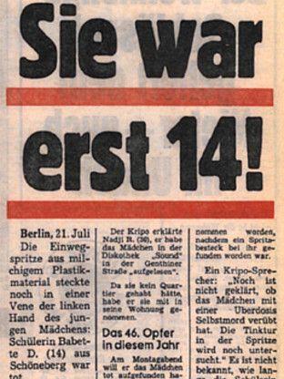 Ideal Annonce de la mort de Babsi morte le juillet berlin bahnhof zoo Pinterest
