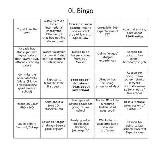 0L Bingo LOLschool Pinterest - legal memo