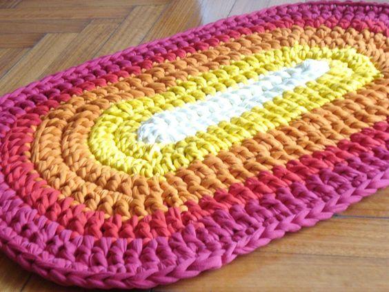 Alfombras tejidas crochet con hilo totora tela de algodon for Decoracion del hogar con crochet