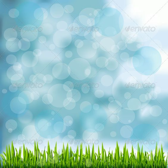 Grass Border on Natural Blue Background - Backgrounds Decorative