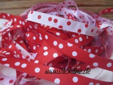 Meilensteine StickTime - Punkteband, rot-weiß Webband