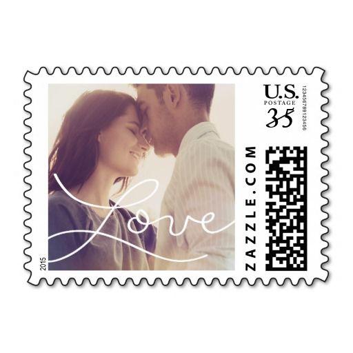 Handwritten love photo postage stamp