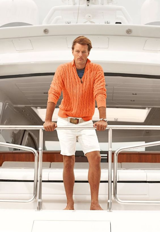 Men\u0026#39;s Orange Zip Neck Sweater, Navy Horizontal Striped Crew-neck T-shirt, White Shorts, Beige Canvas Belt
