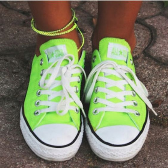 Neon green converse I want!!                              …