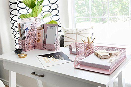 Pink Desk Organizer For Women 5 Piece Desk Accessories Set Letter Mail Organizer St Desk Organizer Set Cute Office Desk Accessories Cute Desk Organization