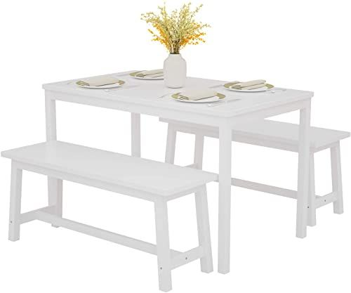 New Mecor 3 Piece Dining Set Table 2 Benches Solid Pine Wood Tabletop Benches Home Kitchen Dining Room Furniture White Online Aristalook In 2020 Space Saving Dining Table Dining Table Chairs Dining Table Setting