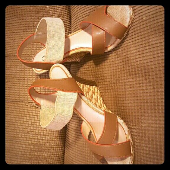 CATO wedges Cream ,and tan colored wedges . Trimmed in orange . Wore one time .GREAT CONDITION . Cato Shoes Wedges