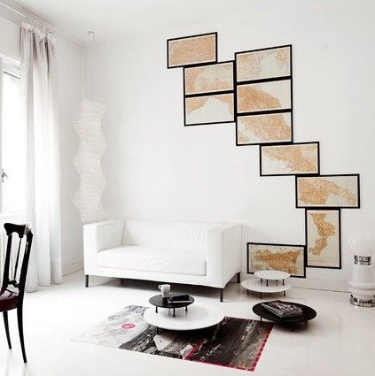 frame pieces of a map to create cool wall! lots of neat map ideas. cool blog.