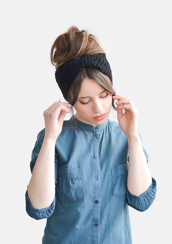 Items similar to Womens Stirnband, Hand stricken verdrehte Stirnband, schwarz Headwrap, benutzerdefinierte Ohr wärmer, klobige Stirnband, Turban, dicken Stirnband on Etsy