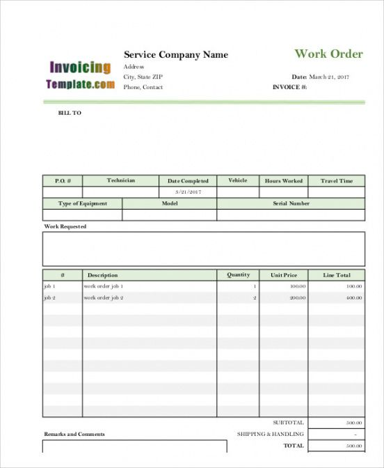 Get Our Image Of Electrical Work Order Invoice Template For Free Invoice Template Invoice Template Word Templates