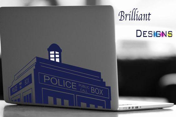 Tardis Decal Tardis Macbook Decal Dr Who Decal Dr Who Police Box Tardis Macbook Decal Vinyl Laptop Decal Macb Computer Decal Ipad Decal Computer Sticker