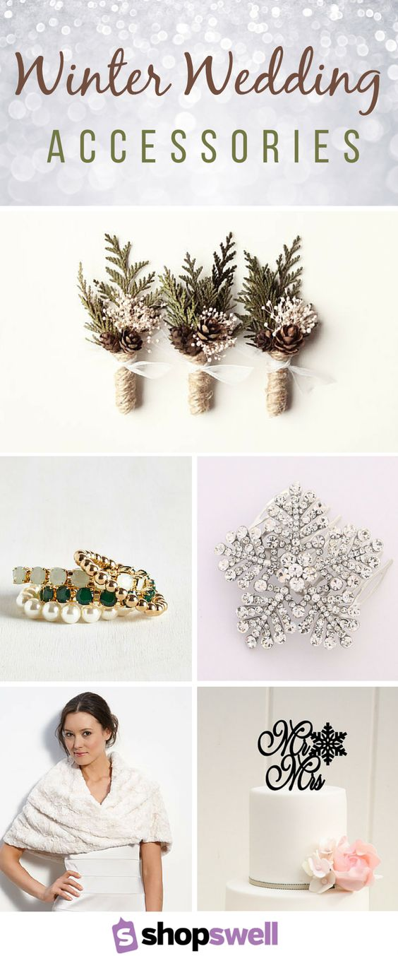 From pine cones to icicles and crystals to evergreens, a winter wedding is a fairy tale come true. Set the tone for your seasonal wedding with these festive winter-inspired wedding accessories.