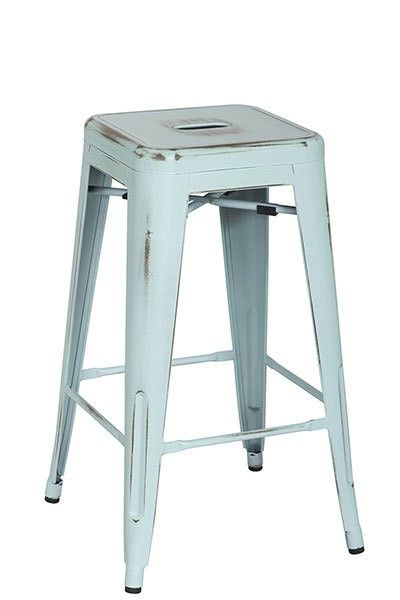 """Bristow 26"""" Antique Metal Barstools-Sky Blue-2-Pack BRW3026A2-ASB -  Office Star Bristow 26 Inch Antique Metal Barstools - Antique Sky Blue - 2-Pack BRW3026A2-ASBEnrich the style of your home or patio with this classic and nostalgic Bristow Collection Vintage Sheet Metal Barstool.  Delightfully finished with an antique patina and conveniently available in a variety of colors, this stool is built to withstand the wear and tear of everyday use.  Styled after the quintessential French cafe..."""