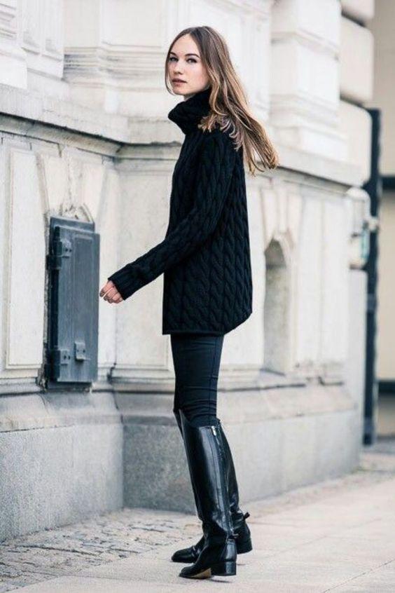 Suéter gola alta preto