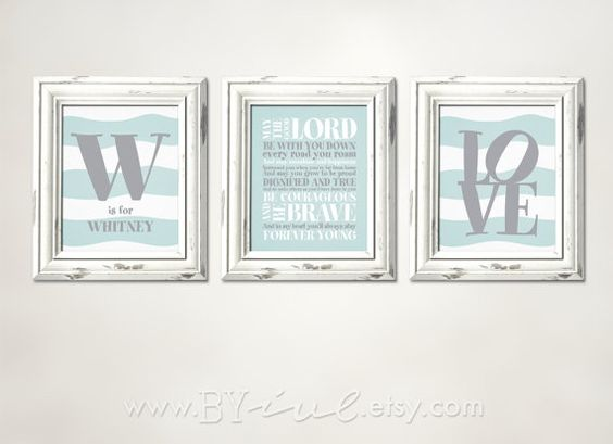 Forever Young Lyrics, Rod Stewart song, Set of three, perfect for kid room printable, Initial Monogram Name, Love word, Grayed Jade and Gray colors,