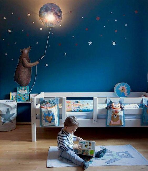 Really love what @natascha.braun did with her boys bedroom! Fantastic job! #sleepymoon #bear #walldecal #nurserydecor #hartendief #diy