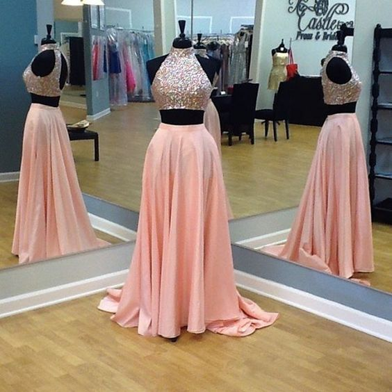 Custom Two 2 Pieces Prom Dresses, Long Prom Dress, Sexy Prom Dress, Cheap Prom Dress, Coral Prom Dress, Affordable Prom Dress, Junior Prom Dress,Green Formal Evening Dresses Gowns, Party Dresses, Plus size