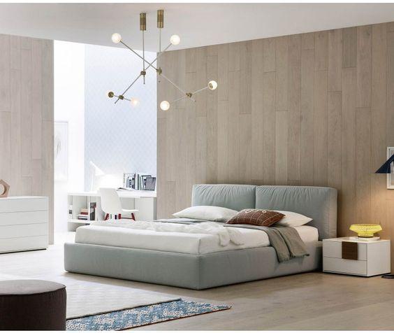 Novamobili Polsterbett Brick mit Bettkasten mit Bettkasten in Hellblau - Designer Bett aus Italien