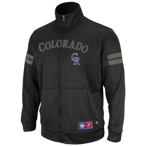 MLB Mens Colorado Rockies Delay Of Game Black/Ath Gray Marled Long Sleeve Mock Nck Synthetic Frntry Fzip By Majestic (Black/Ath Gray Marled, X-Large)