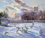 Geese Art - Winter Geese in Church Meadow by Timothy Easton