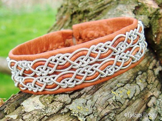 MUNINN Lapland Sami Bracelet - Nordic Viking Jewelry in Cognac Brown Reindeer Leather with Pewter Silver Braids - Handmade Natural Elegance from Tjekijas.