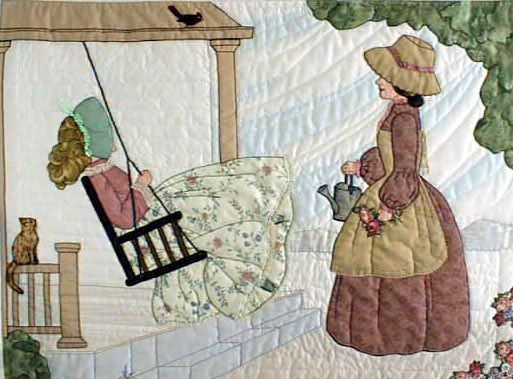 """#2 """"Daily Living Activities for the Bonnet Girls""""  Front Porch Pattern.   Daughter has come to visit mom and sits on the front porch swinging while the appliqué cat watches from the rail. Mom is holding the sprinkler can while she works watering the flowers."""