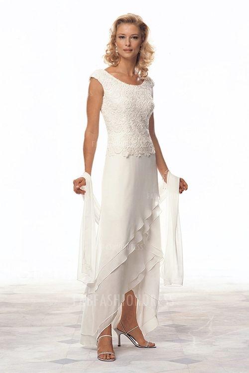 Sheath/Column Scoop High Low Hem Chiffon Mother of the Bride Dress ...