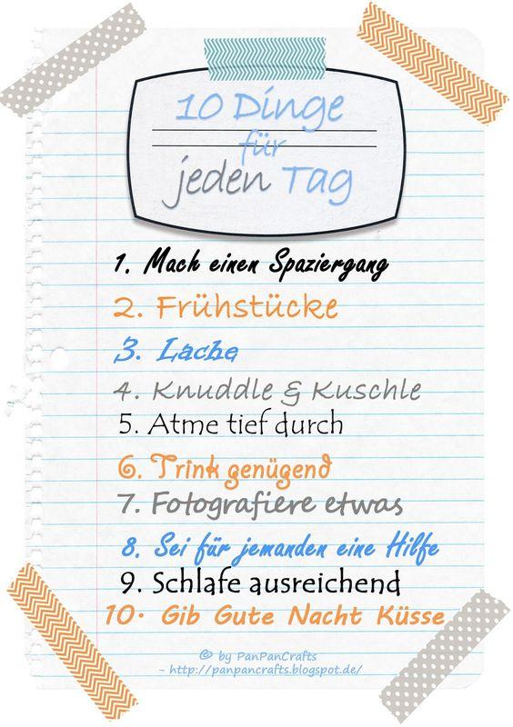 kostenloses Template 10 Dinge für jeden Tag - ToDo Liste zum Wohlfühlen | http://panpancrafts.blogspot.de/