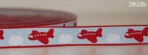 Michas Stoffecke - Flugzeug-Webband rot auf hellblau O-BMS-006-U