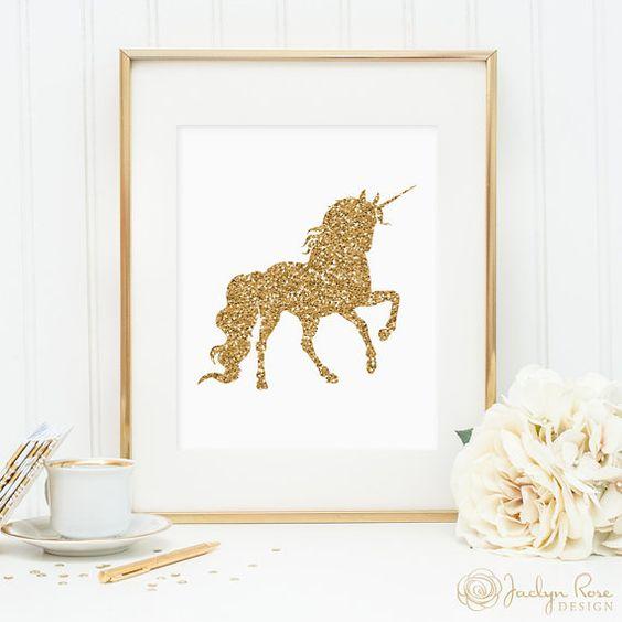 Licorne print, décor art mur imprimable, paillettes d'or Licorne impression, minimaliste, art, art Licorne or, décoration intérieure, décoration de chambre JPG